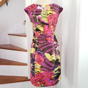 Sharon Young Abstract Colorful Sheath Dres…